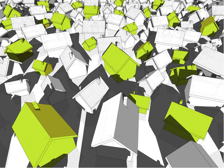 detached: 3d illustration of many chaotically standing simple detached houses of different sizes with shadows and green eco houses standing out from others