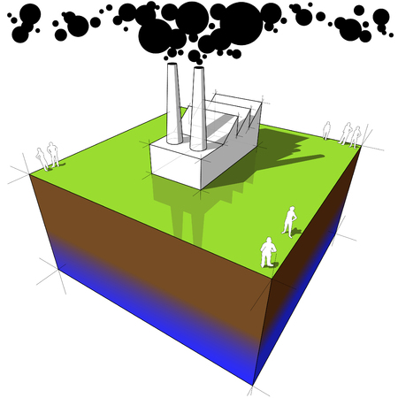 Industrial buildingfactory polluting air from its smokestacks Illustration
