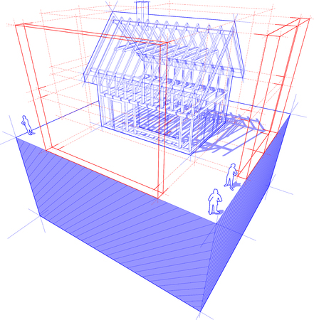 rafter: diagram of a framework construction of a detached house with 3D dimensions