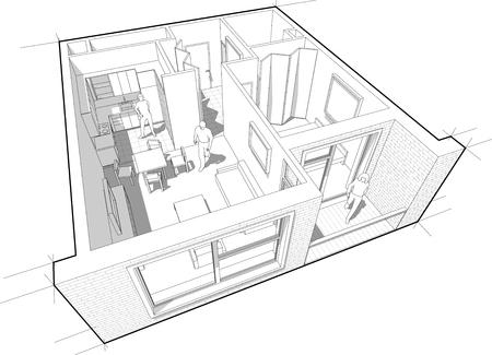 diagrama de corte en perspectiva de un apartamento de una habitación completamente amueblada Ilustración de vector