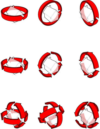 collection red: Collection of nine diagrams of a simple detached house with red arrows rotating around the house Illustration