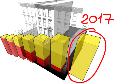 business buildings: diagram of a typical american brownstone townhouse with neighbour buildings and hand drawn note 2017 over rising business diagram