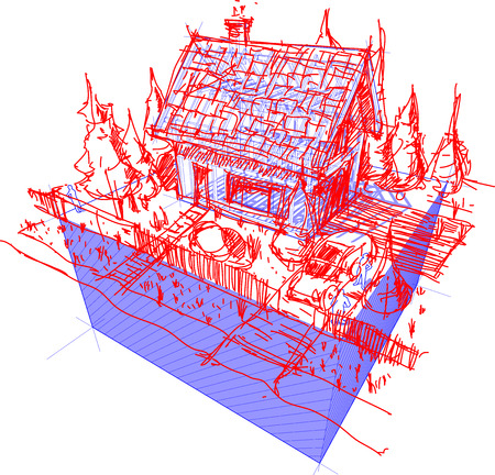 house under construction: 3d illustration of diagram of a framework construction with hand drawn sketch of simple detached house with fence and trees and car