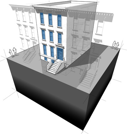 """Diagram of a typical american townhouse (aka """"brownstone"""") with new windows and doors - to improve energy efficiency of the building Illustration"""