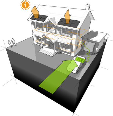 colonial house: Diagram of a classic colonial house powered by battery from electro car with photovoltaic panels on the roof as source of extra electric energy
