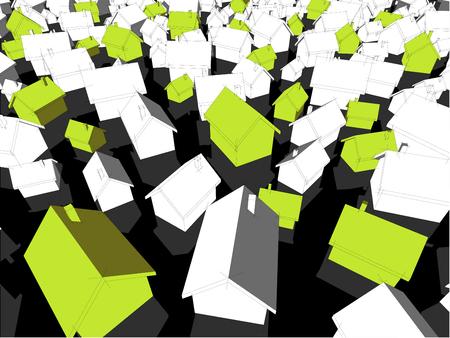 3d illustratie van vele chaotisch bevindende eenvoudige losgemaakte huizen van verschillende grootte met schaduwen en groene ecohuizen die van anderen duidelijk uitkomen