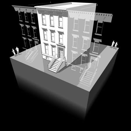Diagram of a typical american townhouse with neighbour buildings Illustration