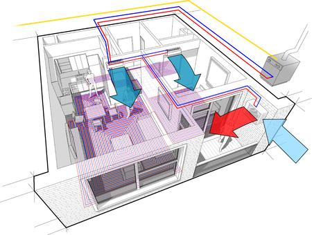 Diagramm Eines Mit Fußboden Geheizten Raumes. Lizenzfrei Nutzbare ...