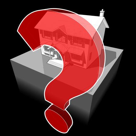 klassiek koloniaal huis en vraagteken