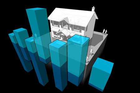 diagram van een klassieke koloniaal huis met abstracte zaken diagram