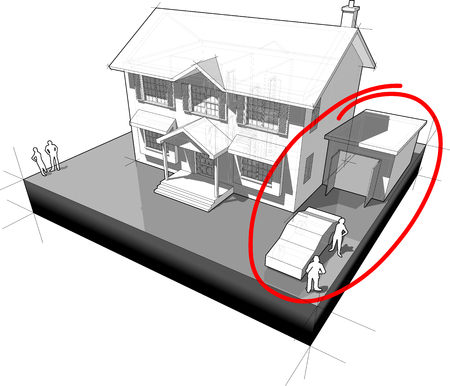 diagram of a classic colonial house with garage and car and red hand drawn circle around the car and garage