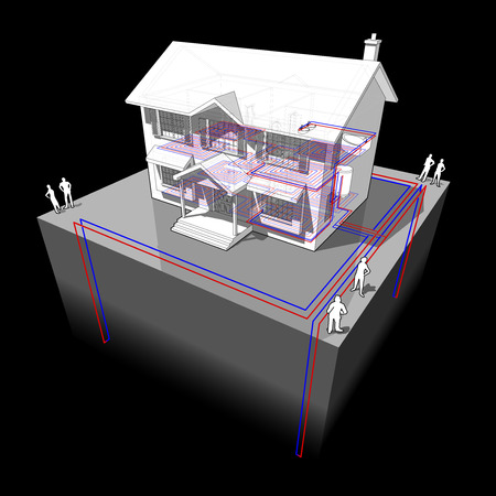 diagram of a classic colonial house with ground source heat pump with 4 wells as source of energy for heating and floor heating Ilustrace