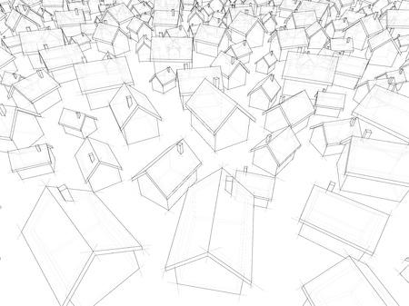 3D-afbeelding van vele chaotisch staan ??eenvoudige vrijstaande huizen van verschillende grootte
