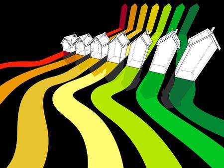Een zeven vrijstaande huizen gecertificeerd in zeven energieke klassen in energieschema