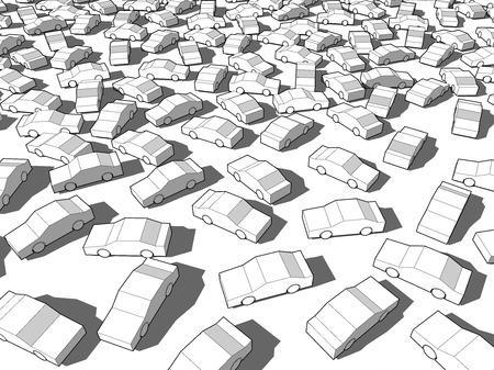 巨大な交通渋滞で多くの白い車