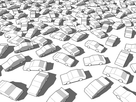 Many white cars in giant traffic jam Иллюстрация