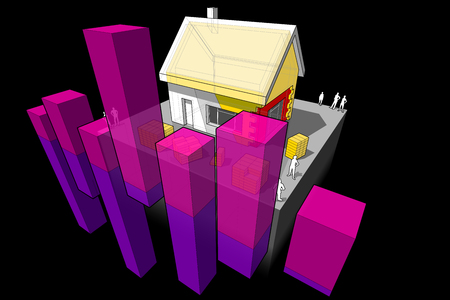 diagram of a detached house with additional wall and roof insulation with abstract business diagram