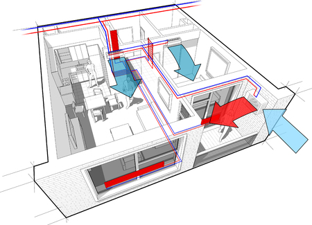 Perspective cutaway diagram of a one bedroom apartment completely furnished with hot water radiator heating and central heating pipes as source of heating energy and with with indoor wall air conditioning diagram  イラスト・ベクター素材
