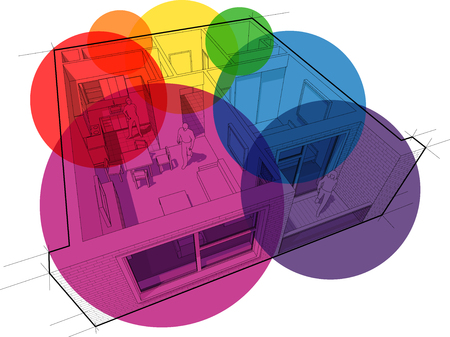 Perspective cut away diagram of a one bedroom apartment completely furnished with circular colorful zone bubbles Illustration