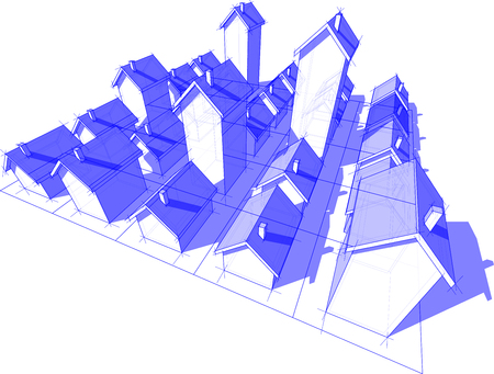 gebied van vijfentwintig transparant blauwe eenvoudige vrijstaande huizen met verschillende hoogte op rechthoekig raster bestaande uit vierkanten