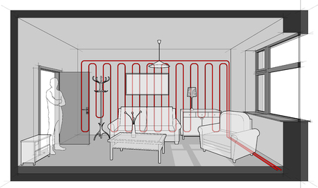 Diagram of a single room furnished with sofa, chair, table, cabinets, ceiling lamp, cloths hanger and painting on the wall heated with wall heating Vettoriali