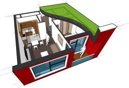 Perspective cutaway diagram of a one bedroom apartment. Completely furnished with flat roof cutaway over it and with schematic floor plan above. Illustration