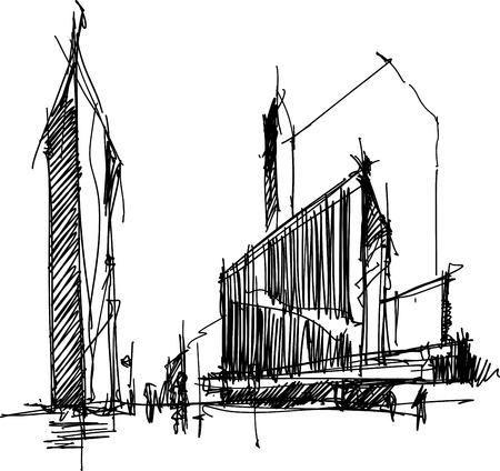 hand getrokken architecturale schets van een moderne abstracte architectuur