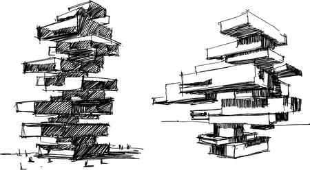 Twee hand getrokken architecturale schetsen van lange moderne abstracte gebouwen of woontoren. Stock Illustratie