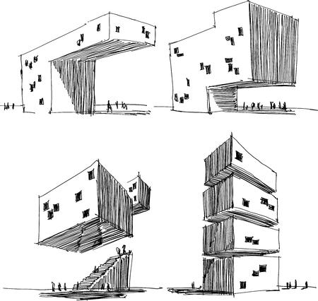 Vier hand getekend architecturale schetsen van een moderne abstracte architectuur