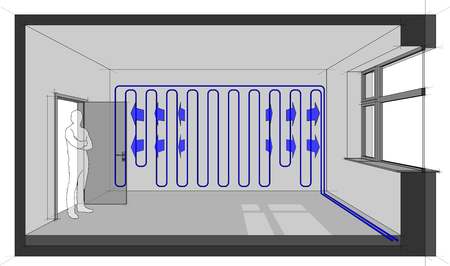 Diagram of a room cooled with wall cooling 일러스트