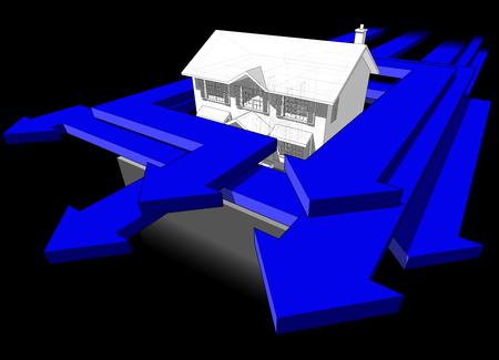Een diagram van een klassiek koloniaal huis en veel pijlen die rond het huis racen in een abstract bedrijfsdiagram met veel blauwe pijlen