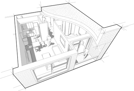 Perspective cutaway diagram of a one bedroom apartment completely furnished with flat roof cutaway over it Stock Illustratie
