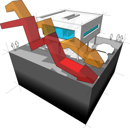 Diagram of a modern house  with falling business arrows
