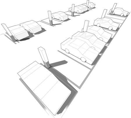 Cars parking in underground parking garage or car park