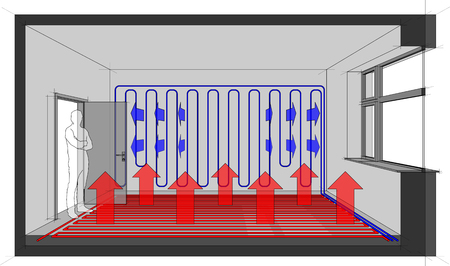 Diagram of a room with floor heating and wall cooling Ilustração