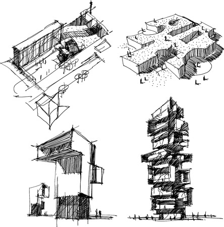 Four hand drawn architectural sketches of a modern abstract architecture