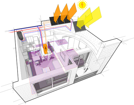 Perspective cutaway diagram of a one bedroom apartment completely furnished with hot water floor heating and central heating pipes as source of heating energy energy with additional solar water heating panels and photovoltaic panels on the roof as source of electric energy
