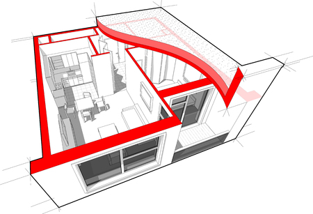 Perspective cutaway diagram of a one bedroom apartment completely furnished with flat roof cutaway over it and with schematic floor plan above Illustration