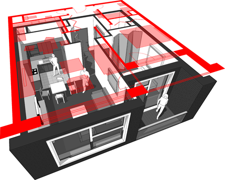 Perspective cutaway diagram of a one bedroom apartment completely furnished with red floor plan above