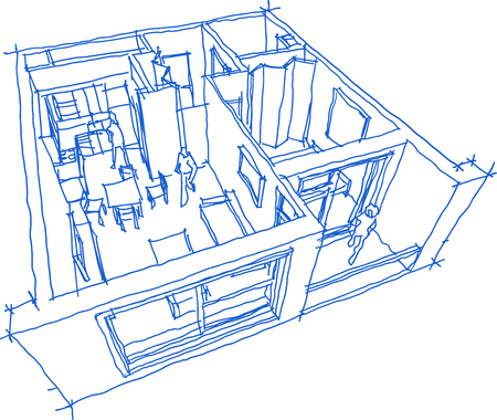 Hand drawn sketch of Perspective cut away diagram of a one bedroom apartment completely furnished. Stock Illustratie