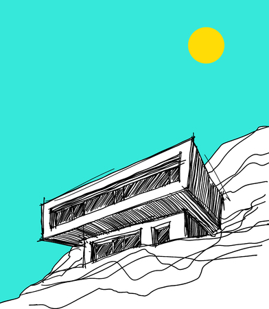 Hand drawn illustration of modern detached house on the steep slope