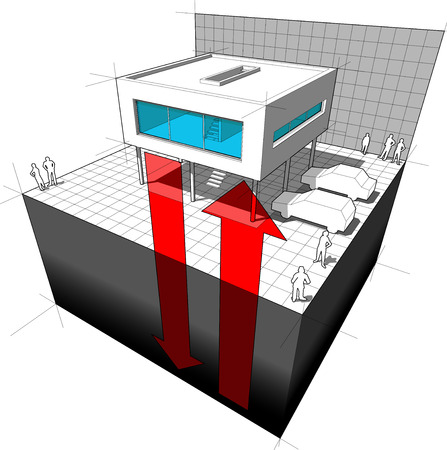 Diagram of a modern house or villa receiving energy from the ground symbolizing geothermal energy