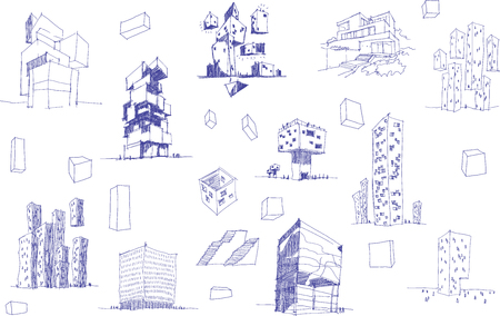 Many hand drawn architectural sketches of a modern abstract architecture and geometric objects and urban ideas and drafts Ilustração