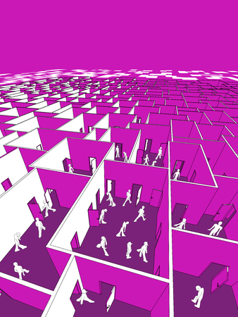 Lost and confused people in endless cubical labyrinth.