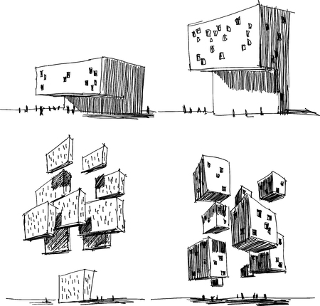 four hand drawn architectural sketches of a modern abstract architecture and futuristic flying and levitating building Vector illustration.