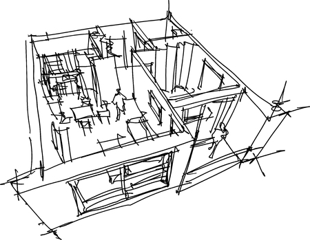 Hand drawn sketch of Perspective cut away diagram of a one bedroom apartment completely furnished on black and white illustration.