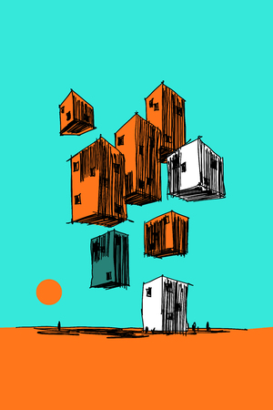 hand drawn colorful illustration of abstract modern buildings flying in the air over ground
