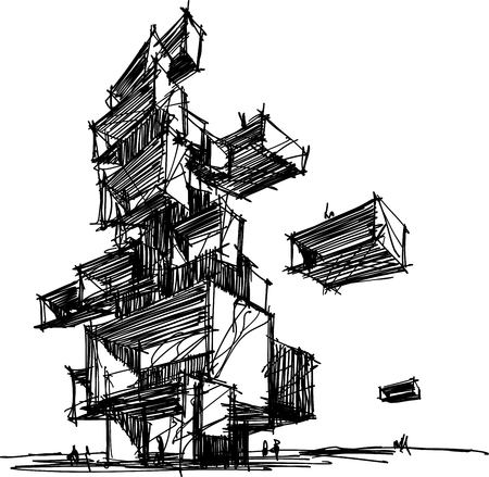 A hand drawn illustration of abstract modern futuristic building or tower