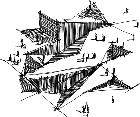 hand drawn architectural sketch of a modern abstract architecture Stock Illustratie