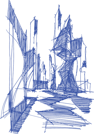 hand drawn architectural sketch of a modern abstract architecture Ilustração